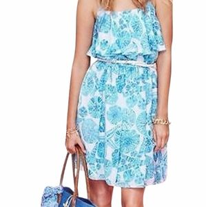 {Lily Pulitzer}Flounce Blue Sea Urchin Print Dress